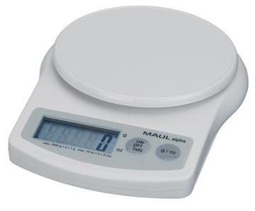 Maul postweegschaal MAULalpha, weegt tot 2 kg, gewichtsinterval van 1 gram