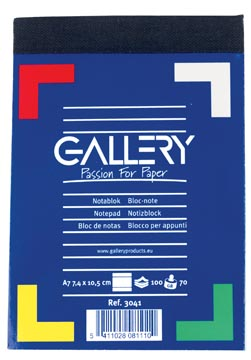 Gallery notitieblok, ft A7, gelijnd, blok van 100 vel
