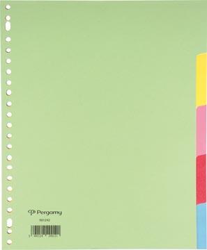 Pergamy tabbladen ft A4+, 23-gaatsperforatie, karton, geassorteerde kleuren, 5 tabs