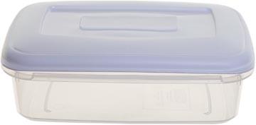 Whitefurze vershouddoos rechthoekig 1,5 liter, transparant met wit deksel