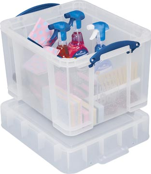 Really Useful Box opbergdoos 35 liter XL, transparant, voor het opbergen van medium LP's
